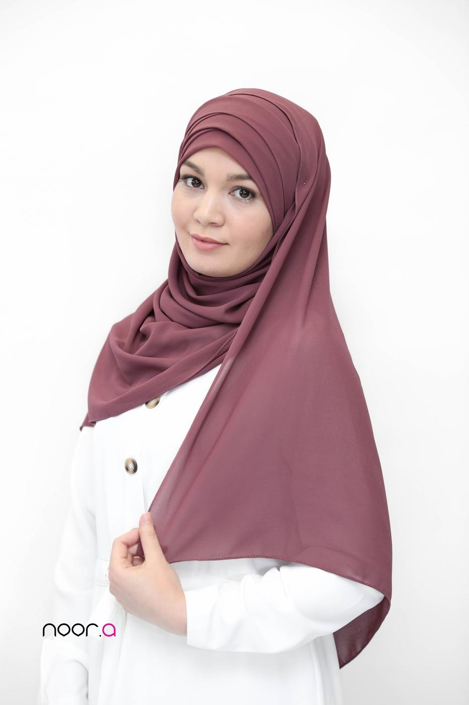 hijab-a-enfiler-bonnet-intergré-mousseline-violet