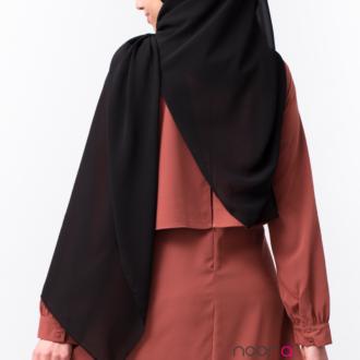 Hijab maxi carré noir mousseline
