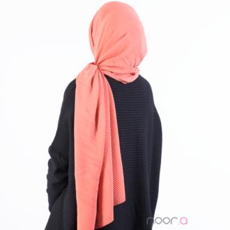 Hijab plissé couleur rouille en mousseline