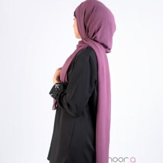 Hijab mousseline plissé violet