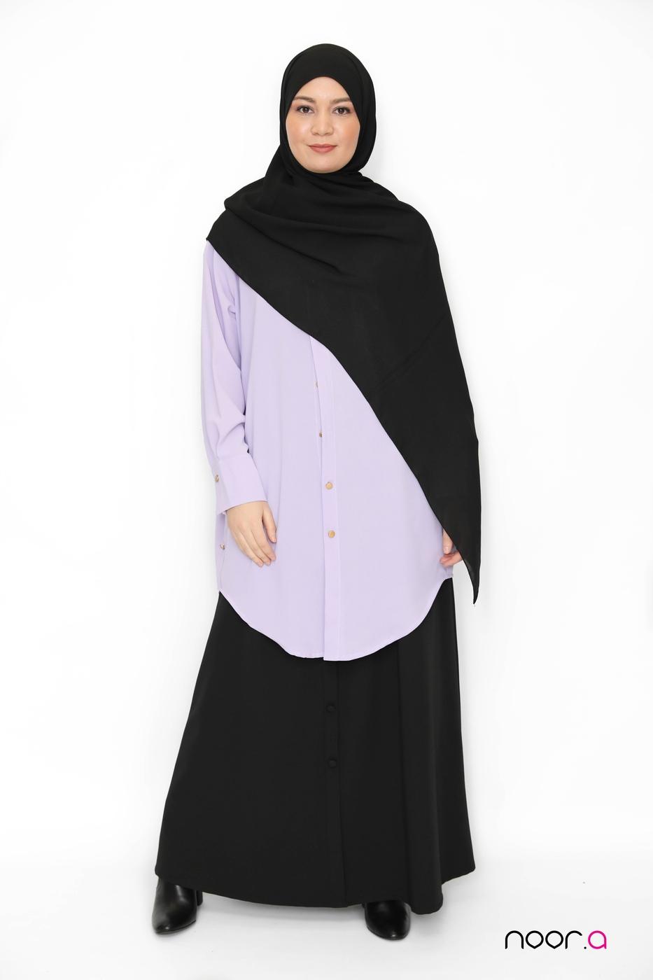 jupe-évasée-noire-chemise-oversize-lila-hijab-jazz-noir