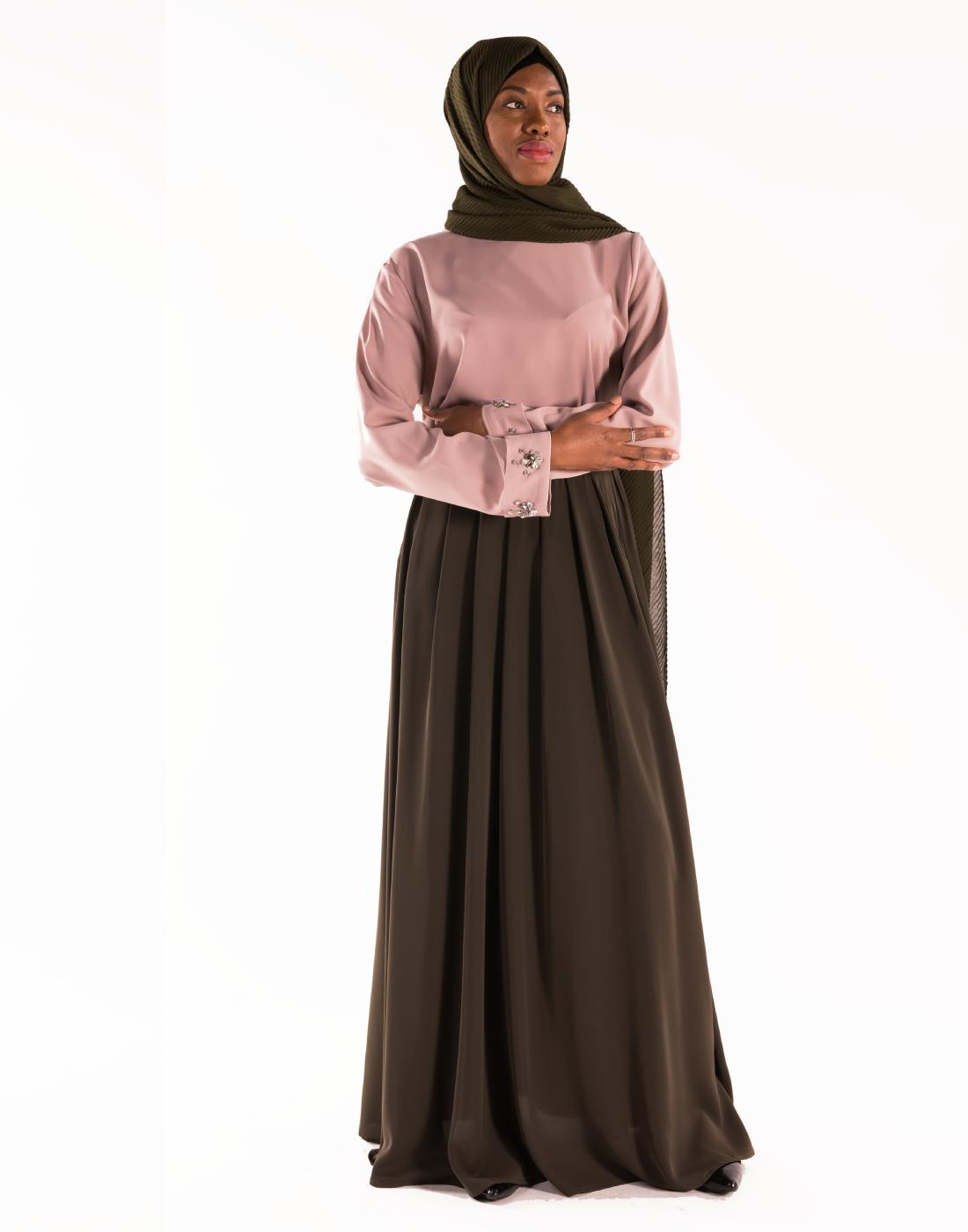 jupe_nidah_kaki_tunique bijoux_vieux_rose_hijab_mousseline_plissé