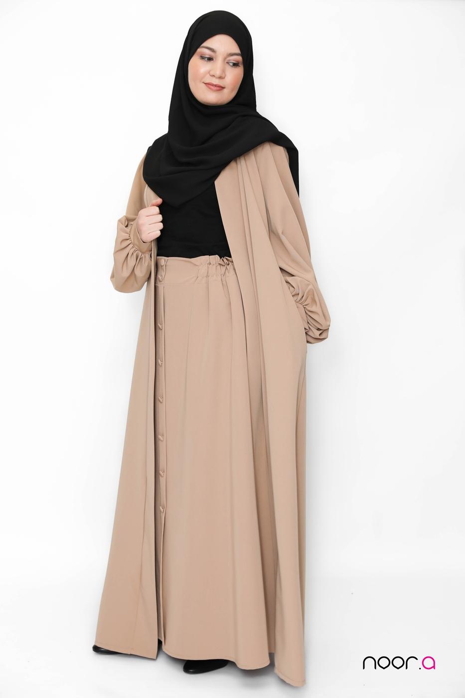 kimono-manches-ballon-camel-jupe-longue-évasée-camel-hijab-jazz-noir (5)