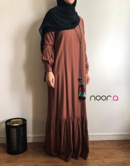 Robe abaya à pompons Ely